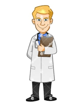 A Scary Doctor With An Evil Smile Holding A Clipboard - Cartoon Vector Clipart