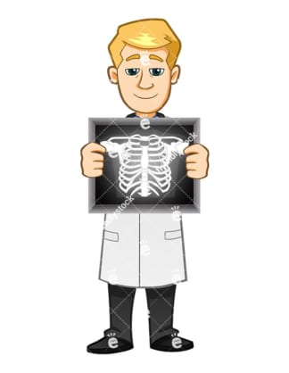 A Medical Man Holding A Breastbone Scan Across His Chest - Cartoon Vector Clipart