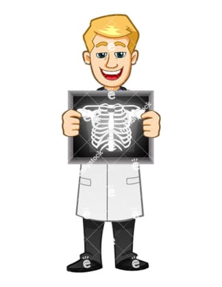 A Radiologist Smiling While Holding A Sternum X-Ray - Cartoon Vector Clipart