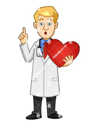 A Doctor Saying Something Important While Holding A Hearty - Cartoon Vector Clipart