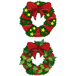 Christmas wreaths clipart vector. PNG - JPG and vector EPS file formats (infinitely scalable). Image isolated on transparent background.