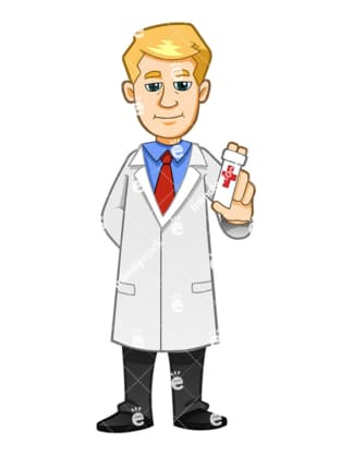 A Health Professional Holding A Bottle Of Painkillers - Cartoon Vector Clipart