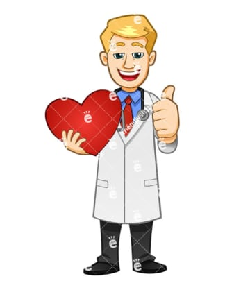 A Doctor Giving The Thumbs Up And Smiling While Holding A Heart - Cartoon Vector Clipart