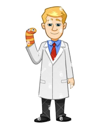 A Pediatrician Wearing A Sock Bunny In His Hand - Cartoon Vector Clipart