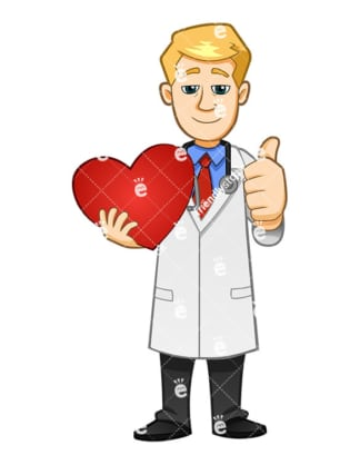 A Doctor Smiling Gently And Giving The Thumbs Up While Holding A Red Heart Symbol - Cartoon Vector Clipart