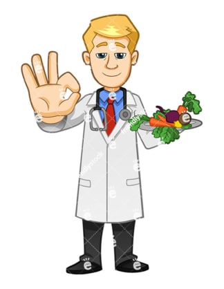 Doctor making the ok gesture with his hand while holding vegetable platter. PNG - JPG and vector EPS file formats (infinitely scalable). Image isolated on transparent background.