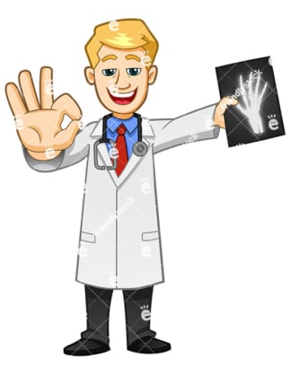 A Doctor Making The A-OK Sign With His Hand While Holding A Bone Scan - Cartoon Vector Clipart