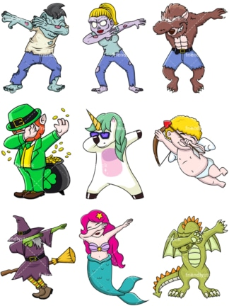 Fictional and mythical characters doing the dab. PNG - JPG and vector EPS file formats (infinitely scalable).