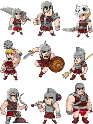 Gladiators collection. PNG - JPG and vector EPS file formats (infinitely scalable). Image isolated on transparent background.