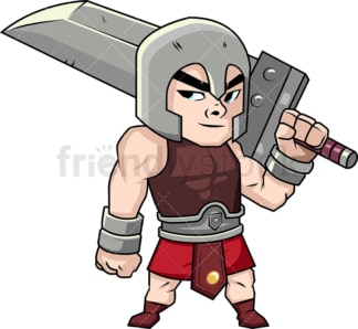 Gladiator with huge sword. PNG - JPG and vector EPS (infinitely scalable). Image isolated on transparent background.