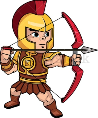 Roman archer shooting with his bow. PNG - JPG and vector EPS (infinitely scalable). Image isolated on transparent background.