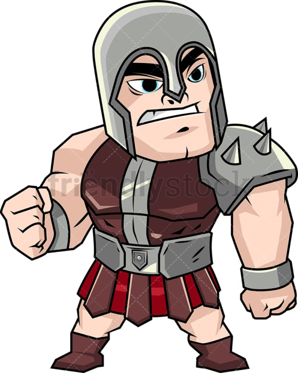 Angry gladiator in heavy armor. PNG - JPG and vector EPS (infinitely scalable). Image isolated on transparent background.