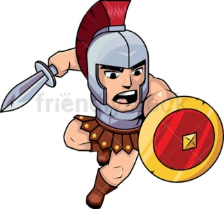 Roman soldier attacking with sword. PNG - JPG and vector EPS (infinitely scalable). Image isolated on transparent background.