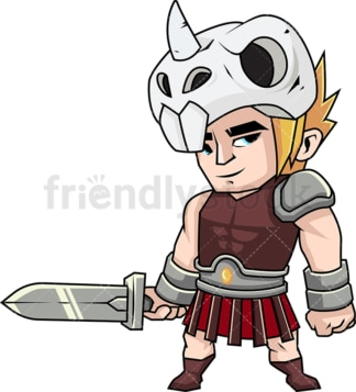 Gritty gladiator ready to fight. PNG - JPG and vector EPS (infinitely scalable). Image isolated on transparent background.