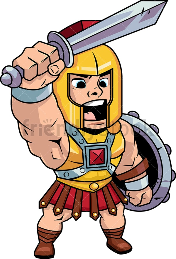Roman centurion shouting a battle cry. PNG - JPG and vector EPS (infinitely scalable). Image isolated on transparent background.