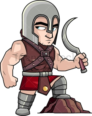 Gladiator holding weapon after fight. PNG - JPG and vector EPS (infinitely scalable). Image isolated on transparent background.