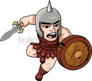 Brave gladiator charging with sword. PNG - JPG and vector EPS (infinitely scalable). Image isolated on transparent background.
