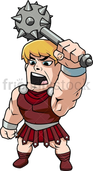 Gladiator raising his mace shouting. PNG - JPG and vector EPS (infinitely scalable). Image isolated on transparent background.