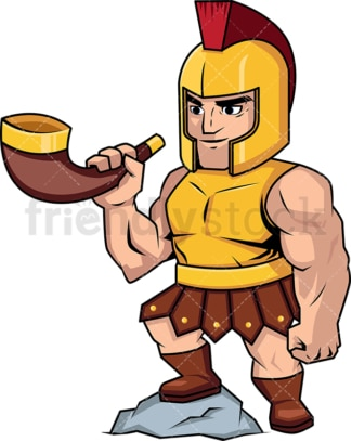 Roman soldier blowing a battle horn. PNG - JPG and vector EPS (infinitely scalable). Image isolated on transparent background.