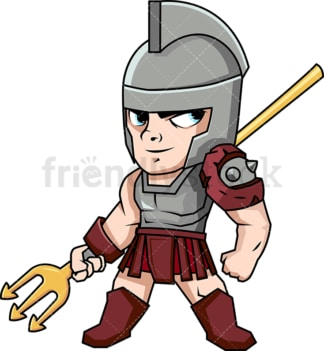 Retiarii gladiator with his trident. PNG - JPG and vector EPS (infinitely scalable). Image isolated on transparent background.