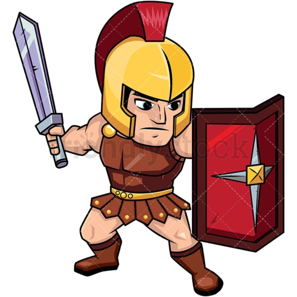 Roman soldier on guard with shield. PNG - JPG and vector EPS (infinitely scalable). Image isolated on transparent background.