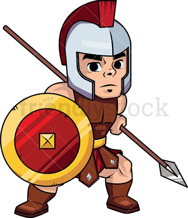 Roman spearman warrior with shield. PNG - JPG and vector EPS (infinitely scalable). Image isolated on transparent background.