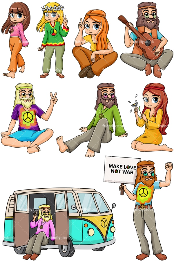 1960s hippies. PNG - JPG and vector EPS file formats (infinitely scalable). Image isolated on transparent background.