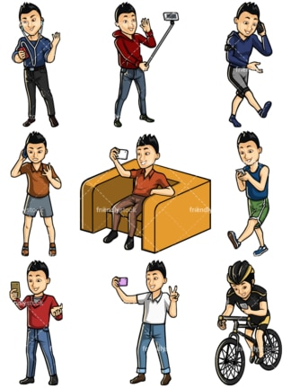 Asian man using mobile phones collection - Images isolated on white background. Transparent PNG and vector (infinitely scalable) EPS