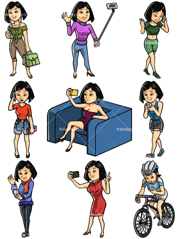 Asian woman using mobile phone collection - Images isolated on white background. Transparent PNG and vector (infinitely scalable) EPS
