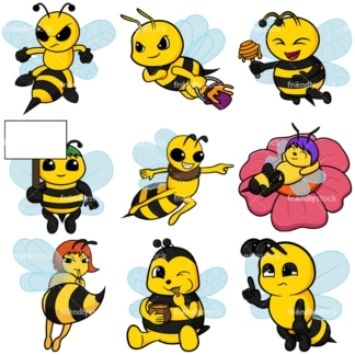 Bees collection - Images isolated on white background. Transparent PNG and vector (infinitely scalable) EPS