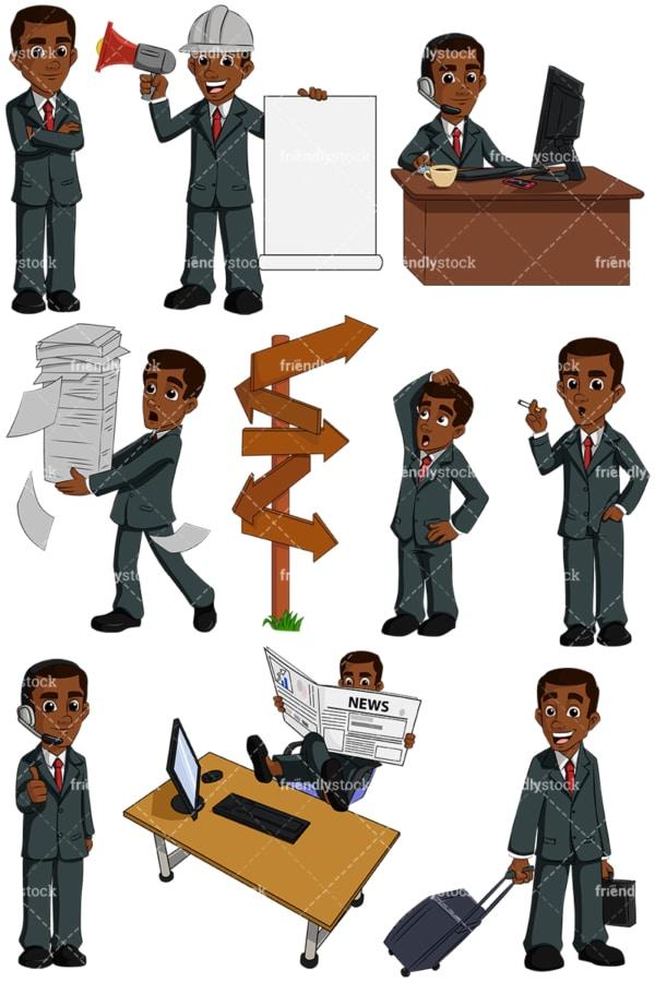 Black businessman - Image isolated on transparent background. PNG