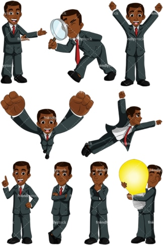 Black businessman collection no3 - Image isolated on transparent background. PNG