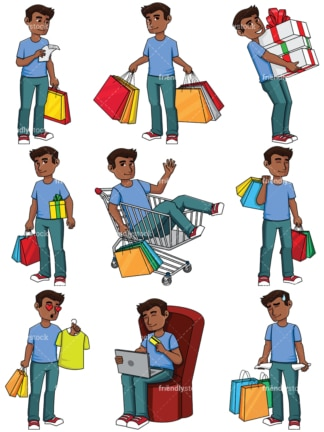 Black man shopping - Image isolated on transparent background. PNG