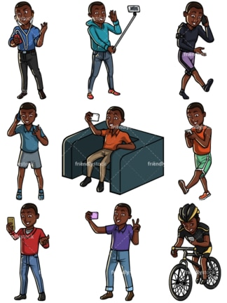 Black man using mobile phones collection - Images isolated on white background. Transparent PNG and vector (infinitely scalable) EPS