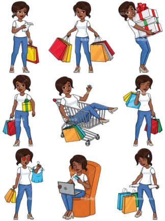 Black woman shopping collection - Image isolated on transparent background. PNG