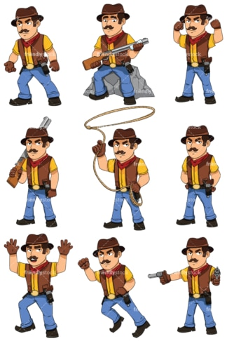 Cowboy cartoon character - Images isolated on white background. Transparent PNG and vector (infinitely scalable) EPS