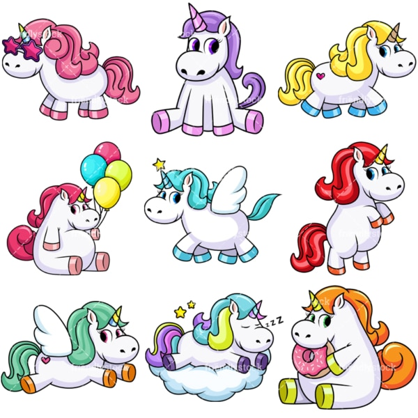 Cute unicorns. PNG - JPG and vector EPS file formats (infinitely scalable). Image isolated on transparent background.