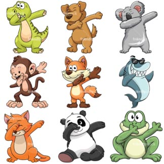 Dabbing animals collection - Images isolated on white background. Transparent PNG and vector (infinitely scalable) EPS