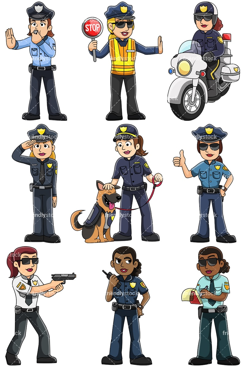 Female Police Officers Vector Cartoon Clipart - FriendlyStockPolice Woman Clipart