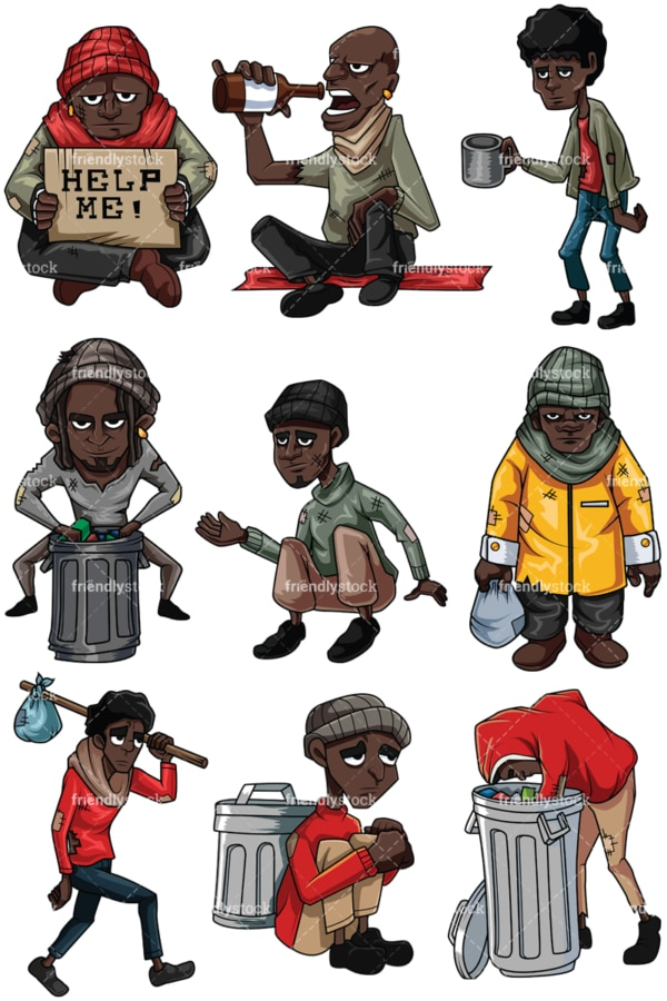 Homeless black men. PNG - JPG and vector EPS file formats (infinitely scalable). Images isolated on transparent background.