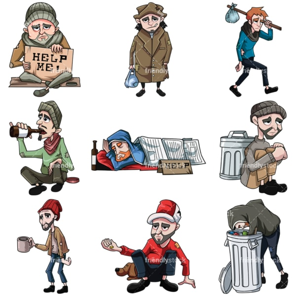 Homeless men. PNG - JPG and vector EPS file formats (infinitely scalable). Images isolated on transparent background.