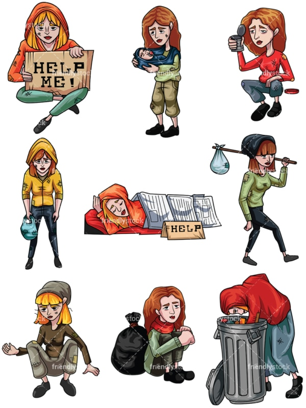 Homeless women. PNG - JPG and vector EPS file formats (infinitely scalable). Images isolated on transparent background.