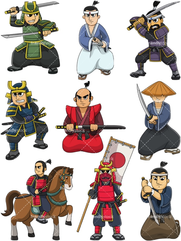 Japanese samurai warriors. PNG - JPG and vector EPS file formats (infinitely scalable). Image isolated on transparent background.
