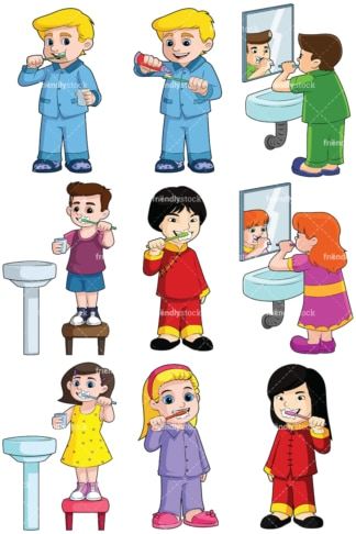 Kids brushing teeth collection - Images isolated on transparent background. PNG