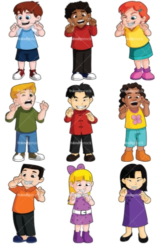 Kids flossing collection - Images isolated on transparent background. PNG