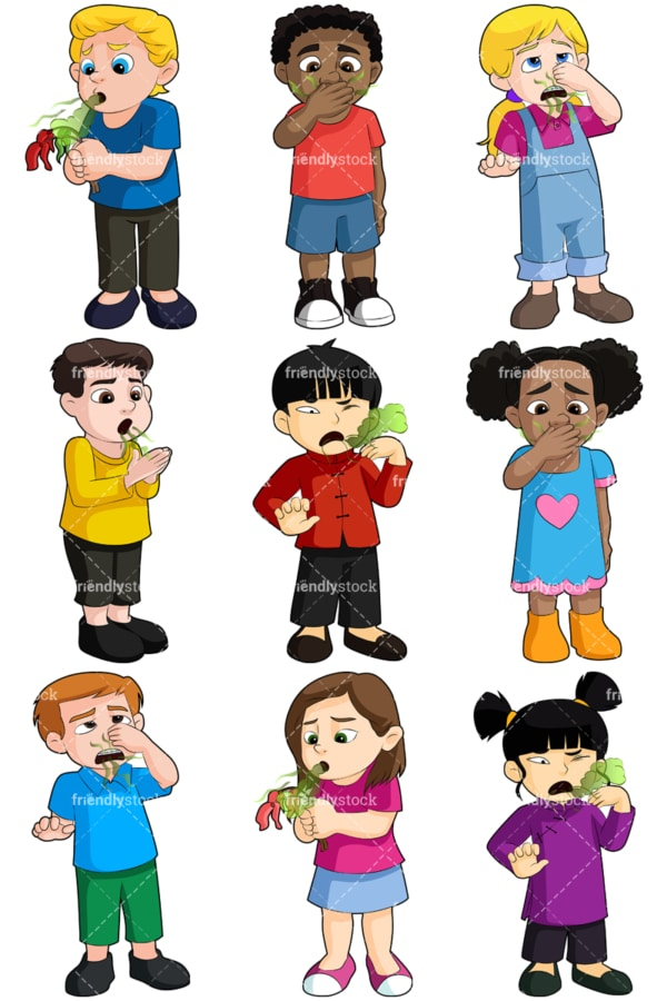 Kids with bad breath - Images isolated on transparent background. PNG