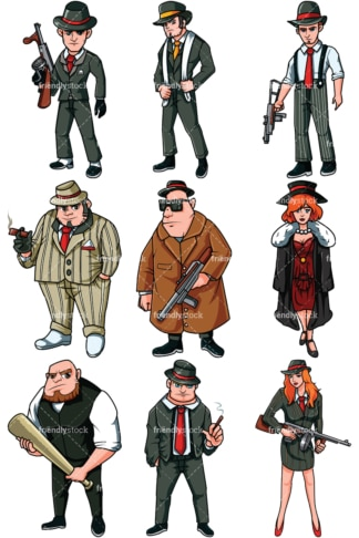 Mafia mobsters vector cartoon clipart - Images isolated on transparent background. PNG