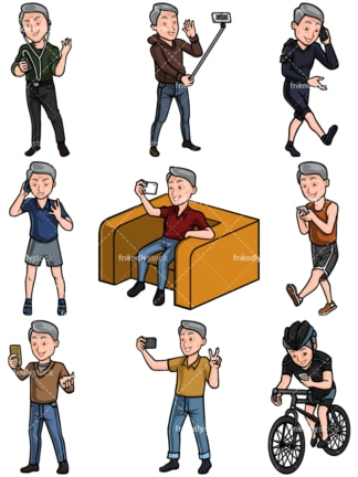 Mature man using mobile phones collection - Images isolated on white background. Transparent PNG and vector (infinitely scalable) EPS, PDF.