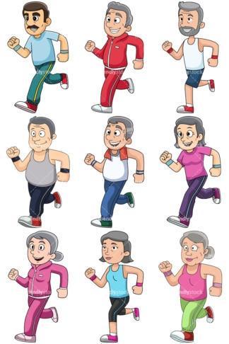 Mature people jogging - Images isolated on transparent background. PNG