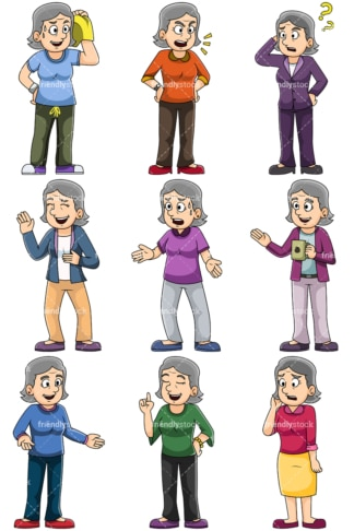 Mature women talking - Images isolated on transparent background. PNG
